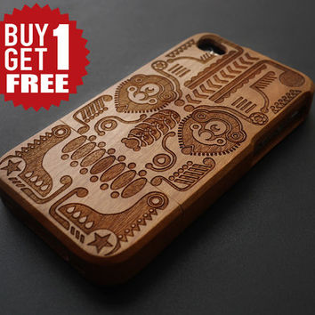 Totem Cherry Wood iPhone 4 , 4S Case - Real Wood iPhone 4 Case - Natural iPhone 4 Case Wood - iPhone4 Case Wood