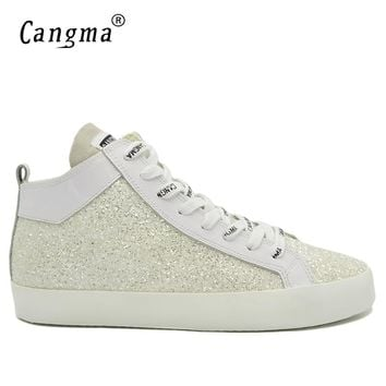 CANGMA Designer Fashion Man Sequined Casual Shoes Mid White Sneakers Men Glitter Flats Lace Up Shoes Breathable Footwear Male