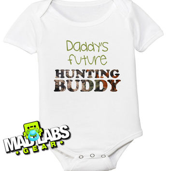 Daddy's Future Hunting Buddy Hunt Like Mine hunting deer cute funny baby one piece non-toxic water-based ink jumper Bodysuit Creeper B-34