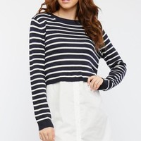 2fer crop stripe sweater with poplin dress