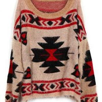 Geometric pattern round neck Bat-sleeved Pink sweater S00286