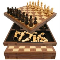 Chess Board Walnut Book Style w- Staunton Chessmen