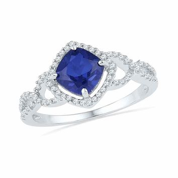 10kt White Gold Womens Princess Lab-Created Blue Sapphire Solitaire Diamond Accent Ring 1-1/10 Cttw
