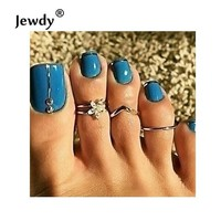 DCCKFV3 Jewdy 3 Pcs /Set Flower Toe Rings For Women Fashion Body Jewelry Rhinestone Foot Rings For Beach Gift Fashion Jewellery