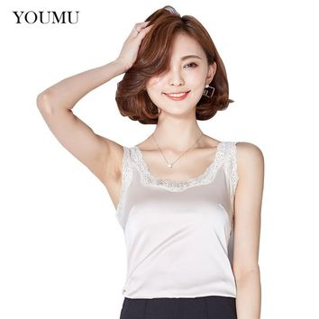 Women Sexy Satin Vest Camisole Faux Silk Tank Elegant Sleeveless Tee Casual Solid Lace Sexy Slim Tops Summer 906-988