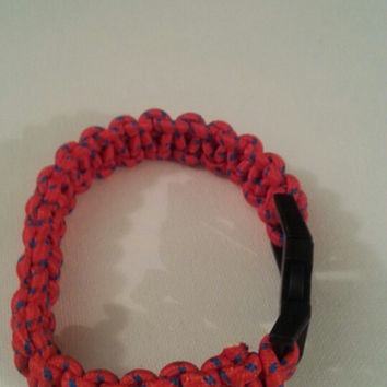 Red/blue paracord parachute cord 550/325 bracelet with survival buckle or regular buckle