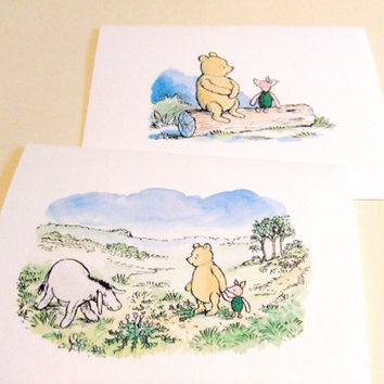 A Day With Pooh - Set of 2 Note Cards by prettypetalspaper on Etsy