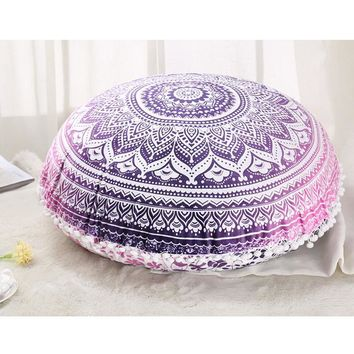 Colorful Mandala Floor Pillows Ottoman Round Bohemian Meditation Cushion Pillow Pouf48