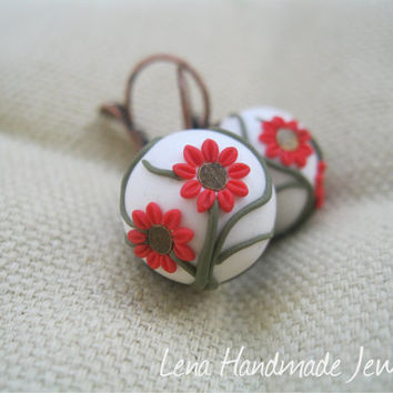 Little Red Polymer Clay Embroidery Flowers Earrings by Lena Handmade Jewelry
