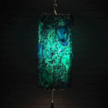 Vintage 60's Acrylic Swag Lamp, Pendant Ceiling Light // Blue and Green Lucite Lava Rock // Retro Mid Century Modern Atomic