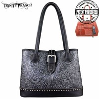 Montana West TR24G-L8563 Trinity Ranch Tooled Concealed Carry Handbag