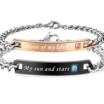 His & Hers Matching Set Stainless Steel My Sun and Stars Moon of My Life Couple Bracelet in a Gift Box