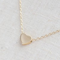 Tiny Matte gold heart necklace