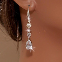 JESS - White Gold CZ and Swarovki Pearls Bridal Earrings