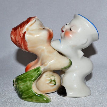 Vintage Van Tellingen Regal Kissing Mermaid and Sailor Huggies Salt & Pepper Shakers - Hard to find Pottery