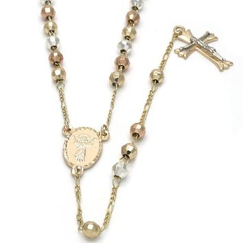 Gold Plated 09.59.0023.30 Medium Rosary, Divino Niño and Crucifix Design, Diamond Cutting Finish, Tri Tone