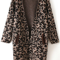 Khaki Leopard Print Long Sleeve Knitted Cardigan
