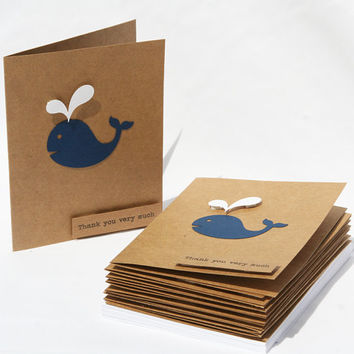 Baby Shower Thank You Cards - Baby Boy Thank You Cards - Baby Girl Thank You Cards - Kraft Thank you cards - Navy Whale Thank You Cards - 10