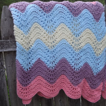 Zig Zag Chevron Afghan Quilt Blanket Mulit by farmchicsophisticate