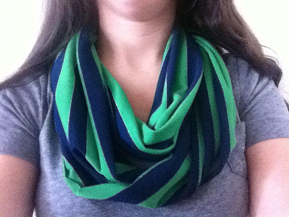 Infinity scarf. Navy and kelly green stripes with metallic stripe. Nautical theme