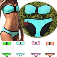 New Women's NEOPRENE BIKINI Bandeau Push Up Top Swimsuit Swimwear Zipper Front
