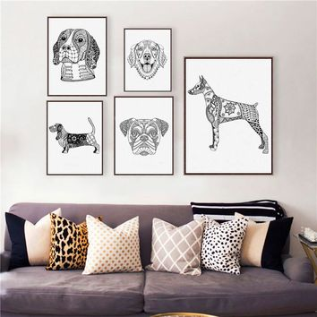 Golden Retriever / Doberman Pinscher Dog Wall Art Prints Poster , Bulldog / Basset Hound / Beagle / Boxer Dog Canvas Painting