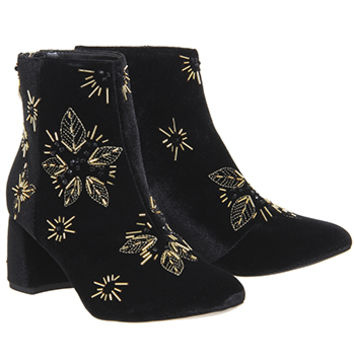 Office Arch Enemy Block Heel Boots Black Velvet Gold Embellishment - Ankle Boots