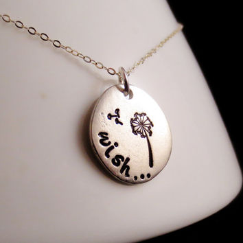 Silver Wish Necklace, Dandelion Personalized Keychain, Encouragement, Mothers Day, Get Well Soon, Grandma