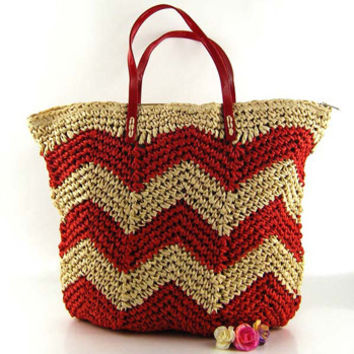 Lady Bags Red Wave Stripe Woven Pure Shoulder Bag Women Summer Handbag Beach Bag