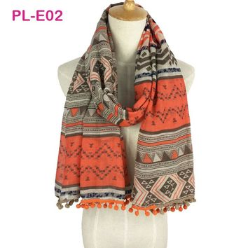 New Design Women Branded Pom Pom Scarves Beach Shawl wraps Aztec Tribal scarf hijab long 2017