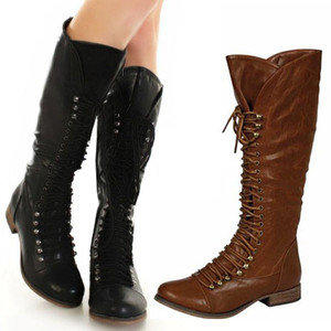 New Womens Knee High Riding Combat Boots From