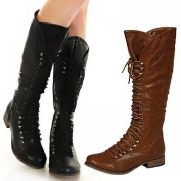 New Womens Knee High Riding Combat Boots Tall Black Brown Military Lace Up Shoes