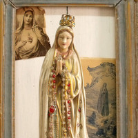 Vintage Our Lady Fatima Virgin Mary statue with Rosary Shabby chic French virgin mary alteredkitsch Madonna