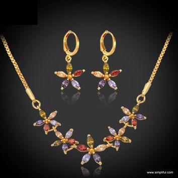 Cute Multi color CZ Flower Necklace and Earring set