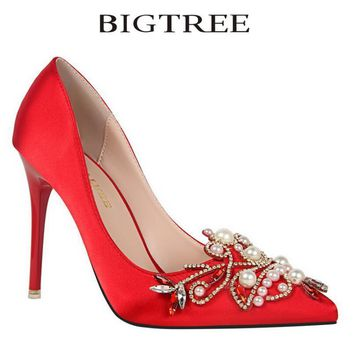 Bigtree Pumps Brand Women's Crystal Pumps Pearl Applique Pointed Toe Stiletto Thin Heel High Heels Wedding Shoes Woman Heels