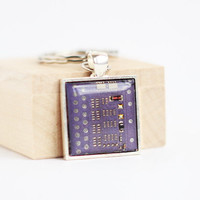 Geeky keychain - Lilac Circuit board - geekery - coworker gift