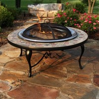 Red Ember Cascade Slate Mosaic Fire Pit with FREE Cover- Copper Accents and Stainless Steel Bowl