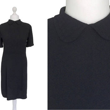 Black Crepe 1940's Dress | Peter Pan Collar Forties Dress | 40's Vintage Dress | Black 1940's Dress | Size Large LBD