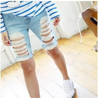 Shorts Women Fashion Ripped Pocket Ladies Jeans Vintage Trousers Women Hole Loose Denim Short Pants B75303J