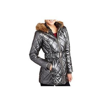 Women's Long Quilted Puffer Coat, Small, Silver Ib Diffusion