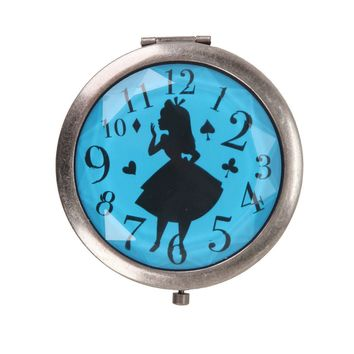 Licensed cool Disney Alice in Wonderland Blue Clock Silhouette Hinge Compact Makeup Mirror NEW