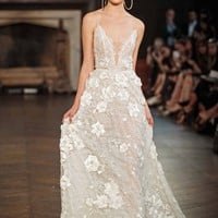 Berta V-Neck Appliqué A-Line Gown (In Stores Only)   Nordstrom