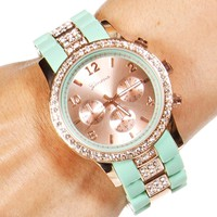 Mint/Rose Gold Rhinestone Rim Link Watch