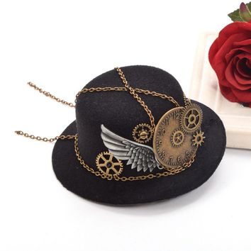 1pcs Gothic Geer Wing Chain Girl Hair Clip Women Mini Hat Hairclip Steampunk Headwear Lolita Cosplay Fedoras Hat Party Hat
