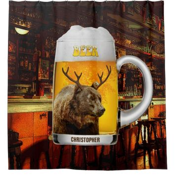 Bear With Deer Horns Beer Mug Pub Owner Cool Funny Shower Curtain