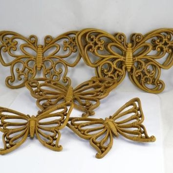 Butterfly Wall Plaques - Vintage 1970s Homco Resin - 6 Retro Kitsch Butterflies