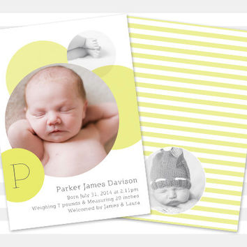 Gender Neutral Birth Announcement - Baby Boy Baby Girl - Baby Announcement - Custom - Photo Card - Parker