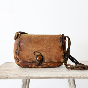 1970s Leather Bag // Vintage Bohemian Purse // Worldly Wise