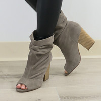 Chinese Laundry Beverly Thrills Gray Genuine Suede Slouchy Peep Toe Bootie