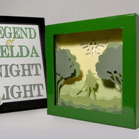 Zelda shadow box with light - Special night light, unique special gift, geek night light, video game night light, home decor